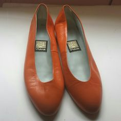Last Chance|| Nina orange leather flats Comfortable pair of flats, but I recieved them from the previous owner and don't wear orange. They show signs of being worn, especially the bottoms and have a few scuff marks on the fronts. They are creased as shown in the last picture. Still look great and the insides are perfect! Nina Shoes Flats & Loafers