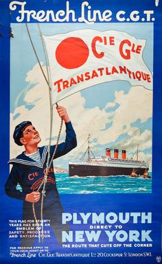 Poster advertising the French Line's Plymouth-to-New York direct route. May date to around 1935 as that seems to be S.S. Normandie in the image. That ship had her maiden voyage with the French Line in May 1935. Charleston Museum