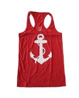 Anchor Patch/Bear Stripes Short Sleeve Embellishment Tank Top at Amazon Women's Clothing store:red