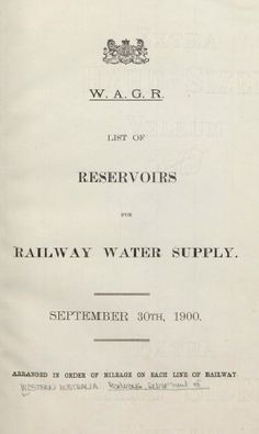 List of reservoirs for railway water supply 1900 Water Supply, Trains, Moose, Train