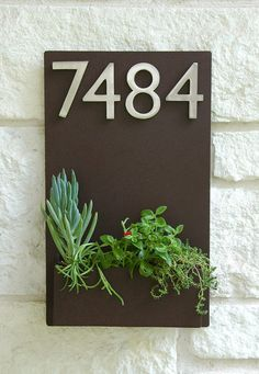 """12"""" x 20"""" Contemporary Brown Wall Plaque and Planter with (4) Brushed Aluminum Address Numbers - Free Shipping on Etsy, $250.00"""
