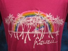 vintage 80s HAWAII RAINBOW PAPER THIN T-Shirt MED/LARGE surf beach buttery soft: