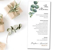 Greenery natural wedding menu eucalyptus wedding menu