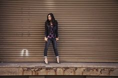 Marta Pozzan of It's SUPERfashion rocks a killer look in James Jeans Neo Beau and a sick leather jacket. Click to steal her style!