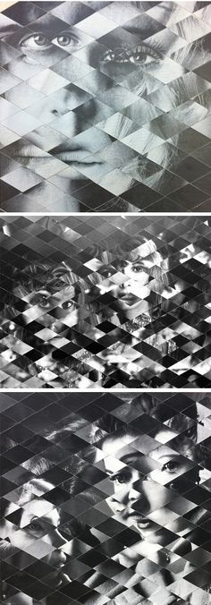 Weaved photographs? Nope. Vintage photographs chopped up into perfect little diamonds, mixed up with each other,  and then rearranged into new dizzying images. Whoa. Today's lovely touch of vertigo is brought to you by Californian artist Allison Diaz.