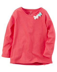 Baby Girl Long-Sleeve Bow Embellished Tee from Carters.com. Shop clothing & accessories from a trusted name in kids, toddlers, and baby clothes.