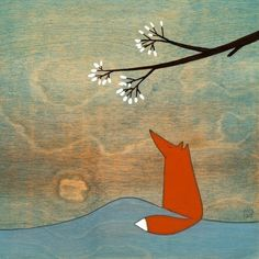 Krisblues shop on Etsy, love all the rabbit, fox, and marshmallow tree original paintings and prints. Fox Illustration, Illustrations, Art Fox, Fox Drawing, Fox And Rabbit, Fabulous Fox, Woodland Creatures, Art Plastique, Belle Photo