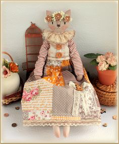 cat doll Ruby fabric soft doll rag doll cloth doll handmade doll ooak stuffed…