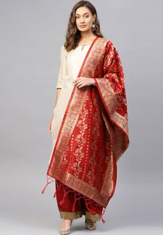 Silk Anarkali Suits, Silk Dupatta, Western Suits, Indian Designer Outfits, Red Fabric, How To Look Classy, Festival Wear, Party Wear, Cool Style