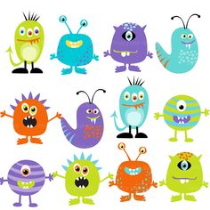 Monster Clipart Digital Monsters  - Set of 12 (Set 2). $9.95, via Etsy.