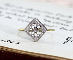 Edwardian Diamond Ring, Antique Engagement Platinum and 14k Yellow Gold Engraved Filigree Stacking Statement Ring, Bride Bridal Gift