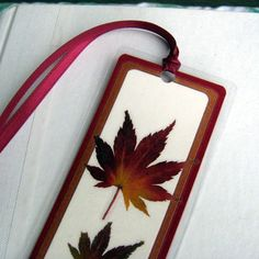 You can buy laminating sheets, they'd make sharp bookmarks with any kind of card scraps or flower/plant pressings. Craft Gifts, Diy Gifts, Diy Souvenirs, Pressed Leaves, Gift Envelope, Autumn Leaves, Maple Leaves, Pocket Letters, Red Ribbon
