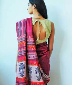Block printed Tussar silk saree with kantha embroidery