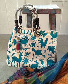 DIY Otomi Stenciled Tote Bag - see the how-to at Paint + Pattern