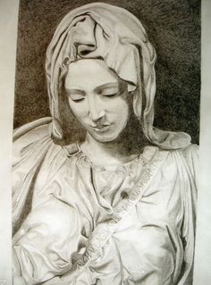"""Omaggio a Michelangelo - particolare de """"La pietà"""" - disegno a matita di Francesca Licchelli"""