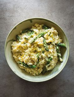 Creamy Lemon Risotto with Asparagus   The lemon zest intensifies the flavor and the cream makes the dish more luxurious.
