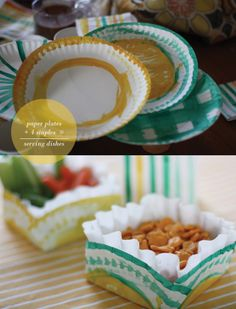 1 coffee filter, 1 paper plate, 4 staples and a little paint and you have an adorable serving dish!    Lots of cute paper product party decoration. :)