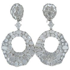 Large Modern White Sapphire Diamond Gold Drop Earrings