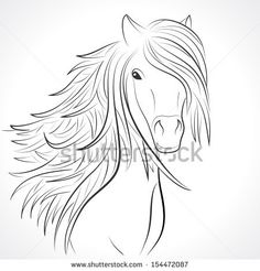Sketch of horse head with flying mane on white background. Vector illustration for your animal background. Beautiful, thick and rich hair of...