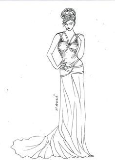 Jessica G. Custom Wedding Dress sketch with options and by LAmei