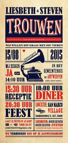 Huwelijk Liesbeth en Steven - trouwkaart - voorkant - Pimpelpluis - https://www.facebook.com/pages/Pimpelpluis/188675421305550?ref=hl (# huwelijksuitnodiging - trouw - retro - grammofoon - dans - typography - kaart - vintage - origineel)