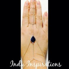 Sterling silver teardrop lapis lazuli cage ring hand jewelry on Etsy, $95.00