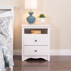 Prepac Monterey White Tall 2 Drawer Night Stand - WDC-2428 - Lowest price online on all Prepac Monterey White Tall 2 Drawer Night Stand - WDC-2428