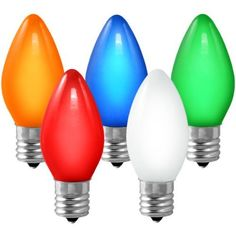 25 Bulbs C9 - Multi-Color Opaque - 7 Watt - Intermediate Base - Christmas Lights - HLS C9-O-MUL by HLS. $5.36. Part No.: C9-O-MUL - Voltage: 120 - Bulb Color: Opaque Multi-Color - Base Type: Intermediate (E17) - UL Listed: Indoor/Outdoor - Package Quantity: 25 -