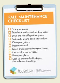 Fall maintenance checklist   Warner Home Group of Keller Williams Realty, #Nashville #RealEstate www.warnerhomegroup.com C: 615.804.6029 O: 615.778.1818