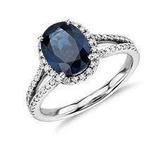 Oval Sapphire and Diamond Split Shank Ring in 18k White Gold (9x7) #BlueNile