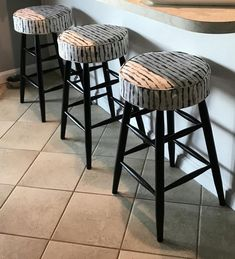 Custom Listing for Bar Stool Covers x Using Ellen Degeneres Natural Watercolor Stripe fabric - Pricing is approximation only Custom Bar Stools, Padded Bar Stools, Bar Stool Cushions, Diy Bar Stools, Bar Stools With Backs, Diy Stool, Build A Headboard, Bar Stool Makeover, Bar Stool Covers