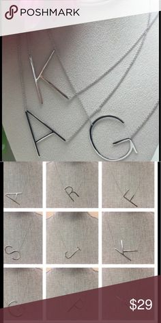 """Large Sideways Initial Necklaces, NWT Avail God/Sl Hot trend! Our large sideways initials are available in every initial letter but please ask me to check our stock first. Available in 14k Gold electroplating or .925 Silver Rhodium Plated finish. Approx 2"""" L and has an adj chain 18""""-20"""" L. Our buyer buys from the exact designer as Anthroplogie buyer. Never disappoints!comes gift boxed from our NY boutique. Fab gift.. Price Firm. Jewelry Necklaces"""