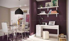 Conjunto para Sala de Jantar/Home Office com Mesa, 6 Cadeiras, Mesa para Computador, Puff e Prateleiras Cromado/Branco/Listrado Bege - Caaza