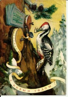 Woodpecker - Happy New Year - Vintage Soviet Postcard print 1956 by LucyMarket, $8.99