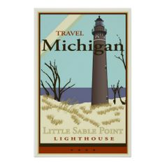 Vintage Travel Little Sable Point Lighthouse, Michigan - USA - Travel Michigan and see beautiful landmarks on Lake Michigan. Michigan Travel, Lake Michigan, Michigan Usa, Northern Michigan, Art Deco Posters, Poster Prints, Retro Posters, Poster Art, Vintage Travel Posters
