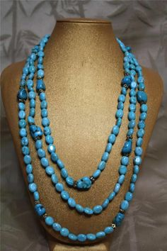 Gorgeous Multi strand Turquoise and Clear Quartz Necklace.