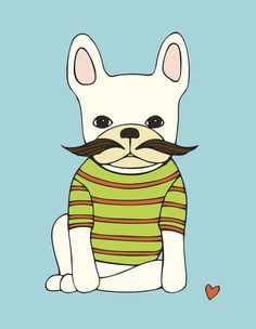 """It's easy to imagine a frenchie dressing up, because it just """"suits"""" them. This one decided to go a little incognito. His full mustache and striped T set his look off to perfection. This vibrant print"""