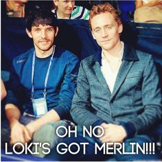 Can we just acknowledge the awesomeness of Merlin & Loki hanging out together? Colin Morgan and Tom Hiddleston Colin Morgan, Catherine Tate, Thomas William Hiddleston, Tom Hiddleston Loki, Loki Thor, Doctor Who, Merlin Serie, Merlin Cast, Bbc