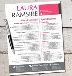 The Laura Jane Resume Modern Custom Design Template - Business - Marketing - Finance - Professional - Girly