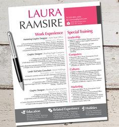 The Laura Jane Resume Modern Custom Design Template - Business - Marketing - Finance - Professional - Girly