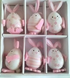 Easter Bunny Easter Eggs Decorations Home Decor in Box Happy Easter Pink Easter Bunny Eggs, Easter Crafts For Kids, Easter Gift, Happy Easter, Spool Crafts, Easter Egg Designs, Egg Decorating, Spring Crafts, Garden