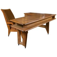 Guillerme et Chambron Desk and Chair   From a unique collection of antique and modern desks and writing tables at https://www.1stdibs.com/furniture/tables/desks-writing-tables/