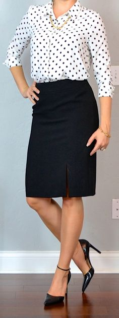 Outfit Posts: outfit post: polka dot blouse, black pencil skirt, black pointed toe pumps