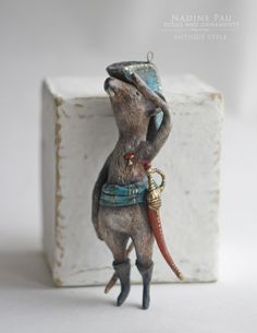 "Mouse soldiers  (collection of ""The Nutcracker"") by Nadine Pau. Christmas ornaments. Papier mache, oil patina varnish. Sold #christmasornaments #nadinepau"