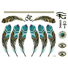 Peacock/Feather Metallic Temporary Tattoo Design for Women