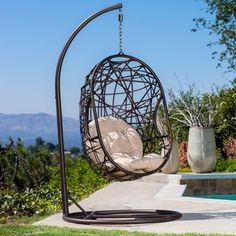 Christopher Knight Home Swinging Egg Outdoor Wicker Chair