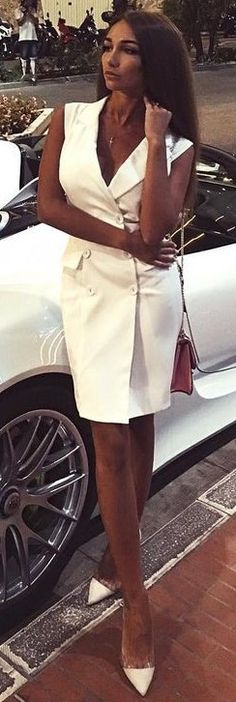#fall #trending #outfits | White Vest Dress