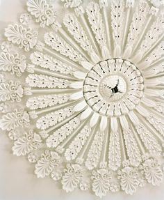 Ceiling ornament in the William Gatewood House, Charleston, SC .use lace to make a ceiling rose Ceiling Detail, Ceiling Design, White Ceiling, Ceiling Rose, Ceiling Medallions, Shades Of White, Pure White, White White, Arabesque