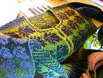 Two color cardigan using Kauni yarns