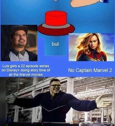 I see this as an absolut win. Meme fandom geek Avengers Endgame superheroes movies Hulk Captain Marvel 2 Carol Danvers MCU Luis from Ant-Man And The Wasp <<< ez nago ados. Captain Marvel, Marvel Dc Comics, Marvel Avengers, Ms Marvel, Funny Marvel Memes, Marvel Jokes, Funny Memes, Luis Memes, Loki